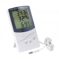 Higrómetro Termómetro LCD Digital Cable Con Reloj Y Alarma