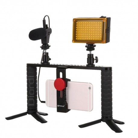 Estudio Trípode Doble Luz Led Con Micrófono Para Videos Rig