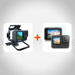 Kit 2 en 1 Gopro Hero9 Frame Protector + Vidrio Templado